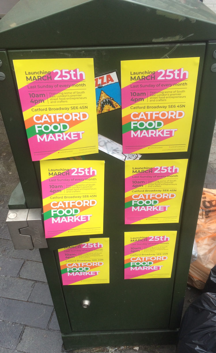 Leaflets found around Catford displaying the new Catford Food Market. Pic: William Taylor-Gammon