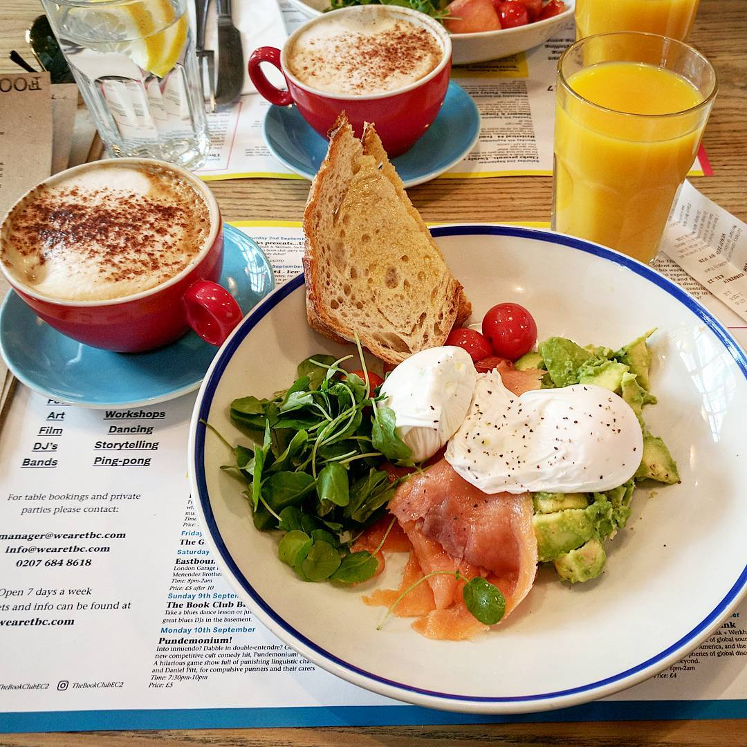 Poached eggs with avocado and toast at The Book Club, Shoreditch. Pic: The Book Club