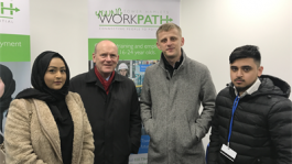 Fabia Begum, Mayor John Biggs, Dritan Nura and Tahmid Rashid at new 'WorkPath hub' in Watney Market.
