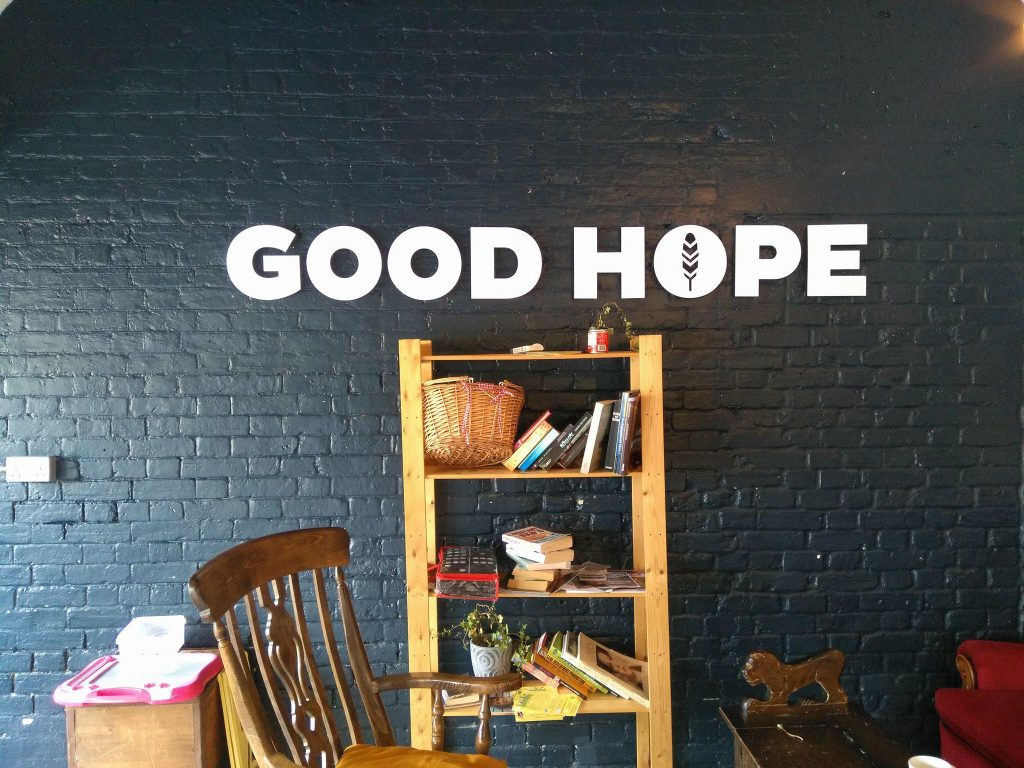 Inside the Good Hope Café in Ladywell Fields, set up in honour of murdered schoolboy Jimmy Mizen