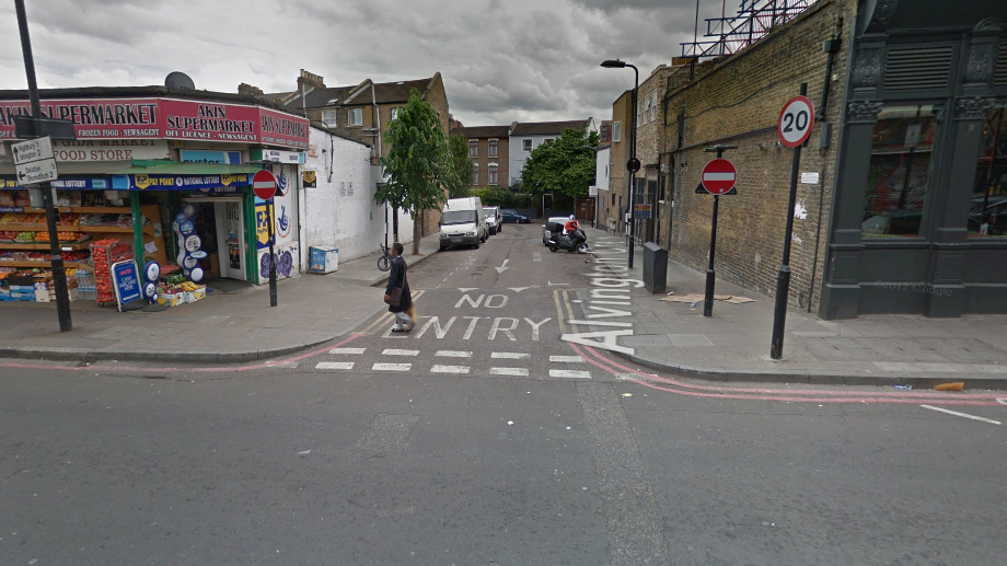 Three people were attacked with a noxious substance on the Shacklewell Lane, Alvington Crescent junction. Pic: Google Maps
