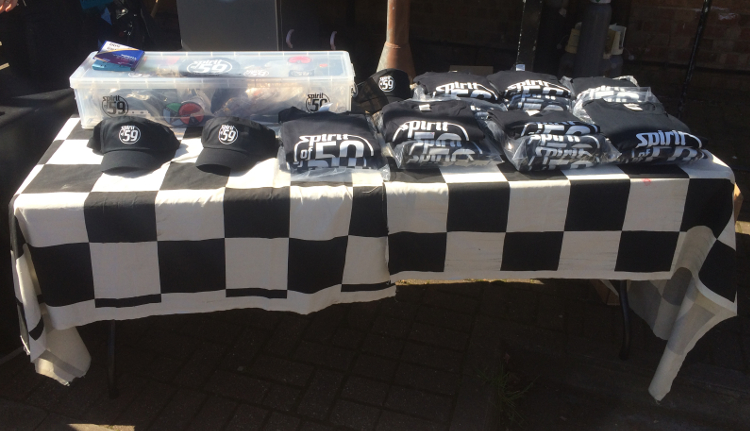 Club merchandise was sold, including hats, T-shirts and badges.