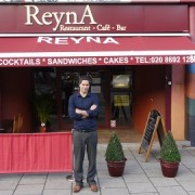 Riza Es outside Reyna restaurant, New Cross pic: Raziye Akkoc