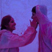 An Indian couple celebrate their first Holi in London. Pic; Yuvan Kumar.