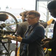 Jane working with a customer of Dr Bike. Pic; Harry Ashman