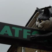 The famous feline rests above the Catford Centre sign. Pic; Kevan (Flickr)