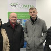 Fabia Begum, Mayor John Biggs, Dritan Nura and Tahmid Rashid at new 'WorkPath hub' in Watney Market.